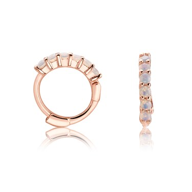 Argento Rose Gold Opal Huggie Earrings   - Click to view larger image