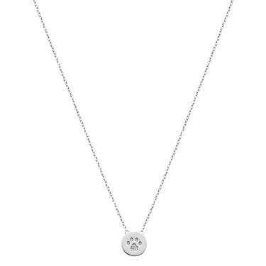 Argento Silver Disc Paw Print Necklace  - Click to view larger image