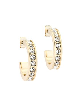 Ted Baker Gold Crystal Small Hoop Earrings  - Click to view larger image