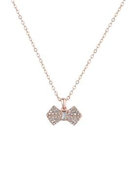 Ted Baker Rose Gold Pave Bow Necklace  - Click to view larger image