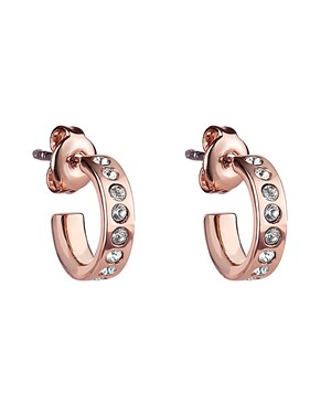 Ted Baker Rose Gold Crystal Huggie Hoop Earrings  - Click to view larger image