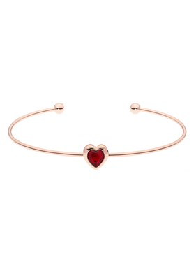 Ted Baker Rose Gold Fine Red Heart Cuff   - Click to view larger image