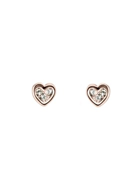 Ted Baker Rose Gold Small Heart Earrings  - Click to view larger image