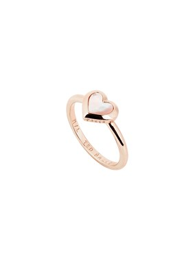 Ted Baker Rose Gold Mother Of Pearl Heart Ring   - Click to view larger image