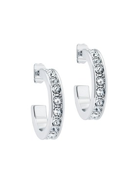 Ted Baker Silver Crystal Small Hoop Earrings  - Click to view larger image