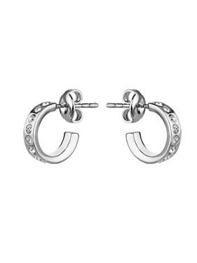 Ted Baker Silver Crystal Huggee Hoop Earrings  - Click to view larger image