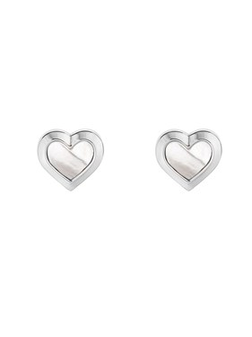 Ted Baker Silver Mother Of Pearl Heart Earrings   - Click to view larger image