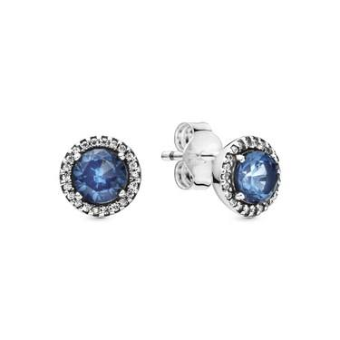 Pandora Blue Round Sparkle Stud Earrings  - Click to view larger image