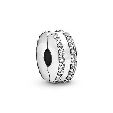 Pandora Double Lined Pave Clip Charm   - Click to view larger image