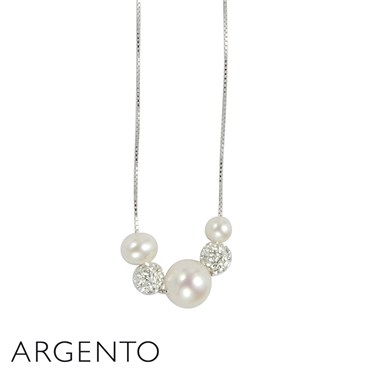 Argento Silver Three Pearl Necklace