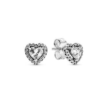 Pandora Elevated Heart Stud Earrings  - Click to view larger image
