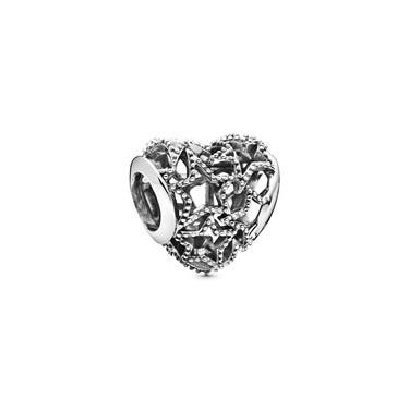 Pandora Openwork Heart & Beaded Stars Charm  - Click to view larger image