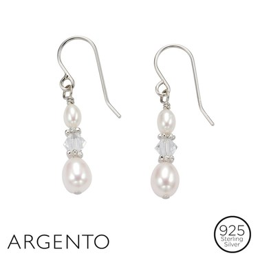 Argento Pearl Crystal Drop Earrings   - Click to view larger image