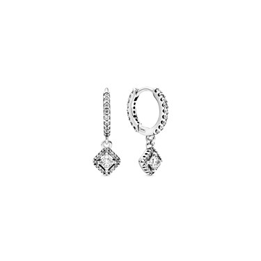 Pandora Square Sparkle Hoop Earrings  - Click to view larger image