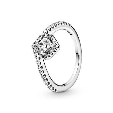 Pandora Square Sparkle Wishbone Ring  - Click to view larger image