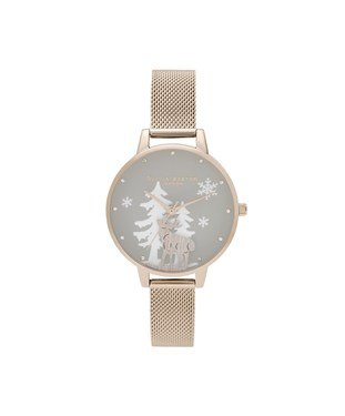 Olivia Burton Winter Wonderland Pale Rose Gold Mesh Watch  - Click to view larger image