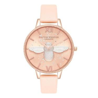 Olivia Burton Exclusive 3D Bee Celestial Nude Peach Watch  - Click to view larger image