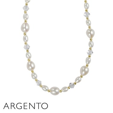 Argento Gold Pearl Crystal Necklace