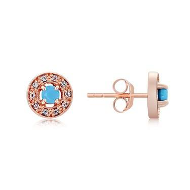 Argento Rose Gold December Halo Earrings   - Click to view larger image