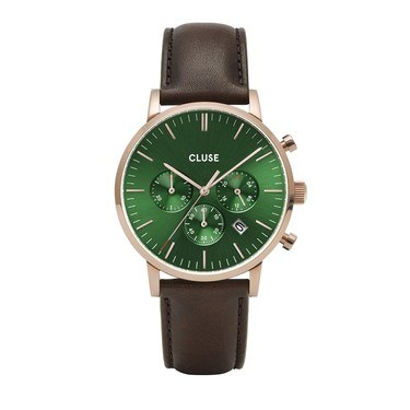 CLUSE Aravis Chrono Brown + Green Leather Mens Watch   - Click to view larger image