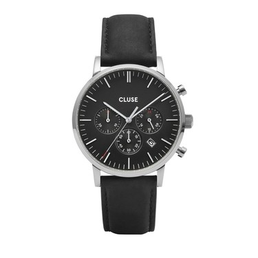 CLUSE Aravis Chrono Black Leather Mens Watch   - Click to view larger image