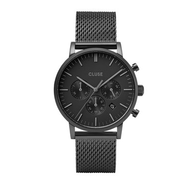 CLUSE Aravis Chrono Black Mesh Mens Watch   - Click to view larger image