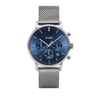 CLUSE Aravis Chrono Silver + Blue Mesh Mens Watch   - Click to view larger image