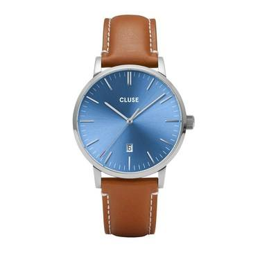 CLUSE Aravis Light Brown + Blue Mens Watch  - Click to view larger image