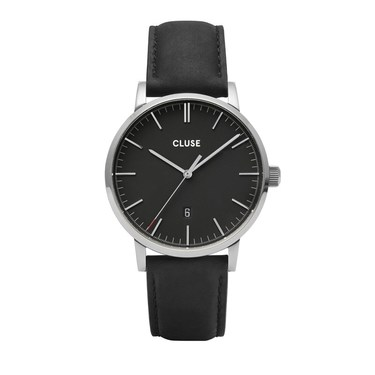 CLUSE Aravis Black Leather Mens Watch   - Click to view larger image