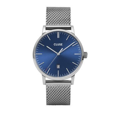 CLUSE Aravis Silver + Blue Mesh Mens Watch   - Click to view larger image