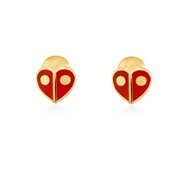 Kate Spade New York Red Ladybug Heart Earrings  - Click to view larger image