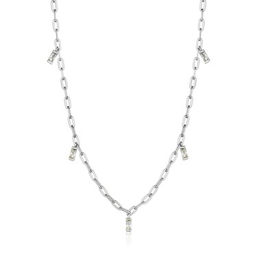 Ania Haie Silver Glow Drop Necklace  - Click to view larger image