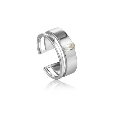 Ania Haie Silver Glow Wide Adjustable Ring   - Click to view larger image