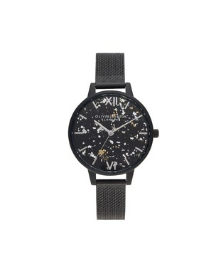 Olivia Burton Matte Black Celestial Boucle Mesh Watch   - Click to view larger image