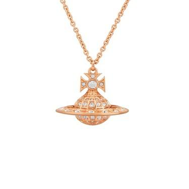 Vivienne Westwood Rose Gold Minnie Orb Long Necklace  - Click to view larger image