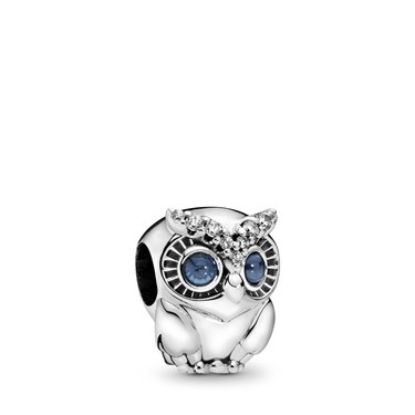 Pandora Sparkling Owl Charm  - Click to view larger image