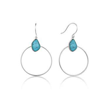 Ania Haie Silver Turquoise Front Hoop Earrings  - Click to view larger image