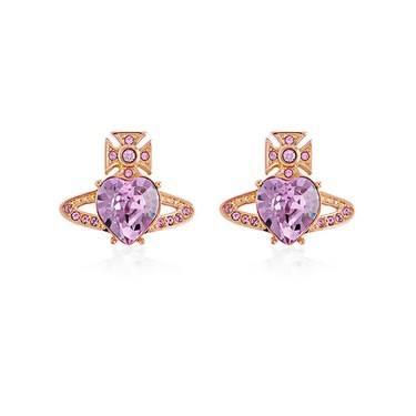 Vivienne Westwood Ariella Rose Gold Heart Earrings   - Click to view larger image