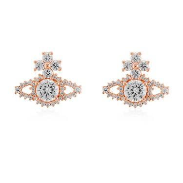 Vivienne Westwood Rose Gold Valentina Stud Earrings  - Click to view larger image