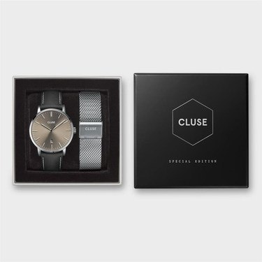 CLUSE Aravis Silver + Grey Men's Watch Set   - Click to view larger image