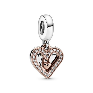 Pandora All Of Me Sparkling Freehand HeartCharm  - Click to view larger image