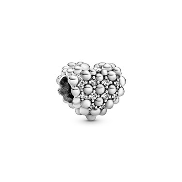 Pandora Beaded Sparkling Heart Charm   - Click to view larger image