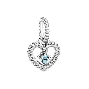 Pandora March Birthstone Heart Charm  - Click to view larger image