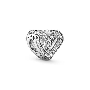 Pandora Sparkling Freehand Heart Charm   - Click to view larger image