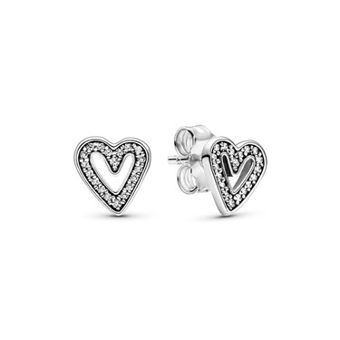 Pandora Sparkling Freehand Heart Stud Earrings  - Click to view larger image