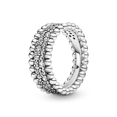 Pandora Beaded Pave Band Ring  - Click to view larger image