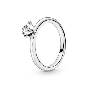 Pandora Clear Heart Solitaire Ring  - Click to view larger image