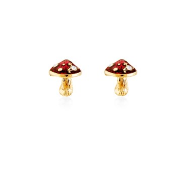 Vivienne Westwood Orla Gold Mushroom Stud Earrings  - Click to view larger image
