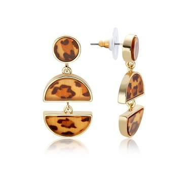 Dirty Ruby Tortoiseshell Half Circle Earrings  - Click to view larger image