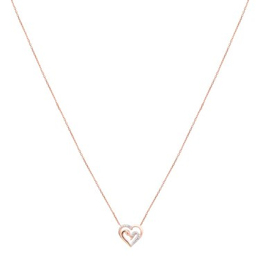Argento Rose Gold Swan Heart Necklace   - Click to view larger image